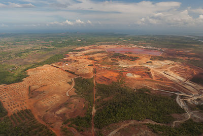 Aerial view of Rio Tuba nickel mine, Palawan, Philippines, April 2010