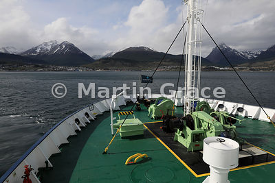 Ushuaia from the deck of cruise vessel Ortelius (Oceanwide Expeditions), Tierra del Fuego, Argentina