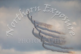 The Red Arrows RAF display team during a formation pass showing smoke while performing at the Battle of Britain 75th Annivers...