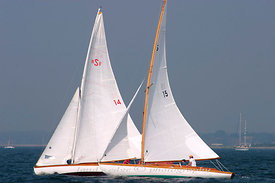 Two S boats, Wistlful and Shona, found the windward mark at the Herreshoff Rendezvous, 2004
