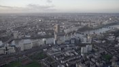 Aerial footage of Vauxhall looking across the River Thames to Westminster