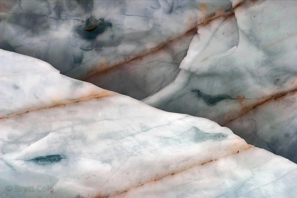Abstraction of sediment layers in the Angel Glacier, Mount Edith Cavell, Jasper NP, Canadian Rockies. Five feet between each ...