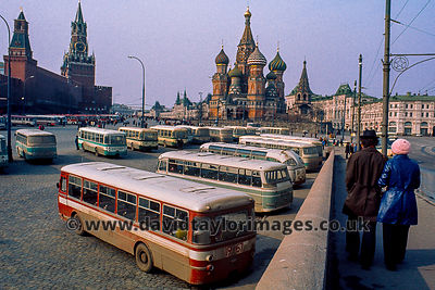 Tourist coaches behind Red Square | Moskveresky Bridge Moscow | April 1976