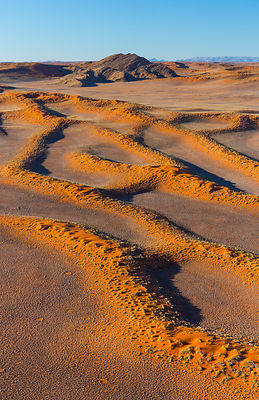 Aerial view of Namib-Naukluft National Park with sand dune habitat, Namibia