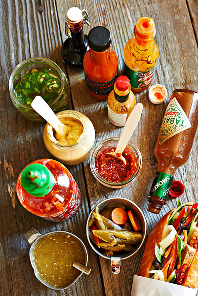 Hot sauce condiment selection