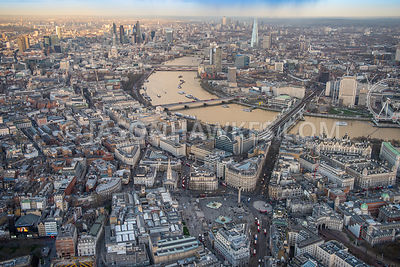 Aerial view of London, Strand towards River Thames and The Shard.