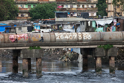 Sewage pipes in a slum area of Mahim, Mumbai, India.
