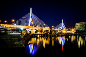 Boston Bunker Hill Zakim Bridge at Night Photo