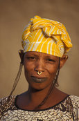 Peul woman, with characteristic mouth tattoo and nose ring, Djenné, Mali