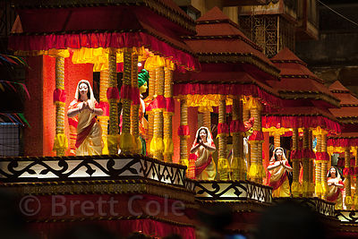 A large and elaborate pandal (temporary temple of sorts) to the Goddess Durga during the Durga Puja festival, Gariahat, Kolka...