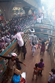 Crowds celebrating the Ganesh Chaturthi festival in Lalbaug, Mumbai, India.