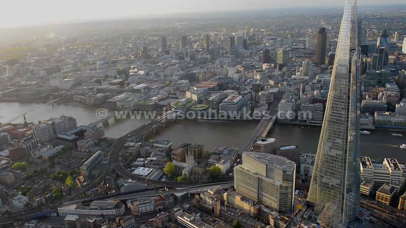 Aerial footage of the Shard, Southwark, London