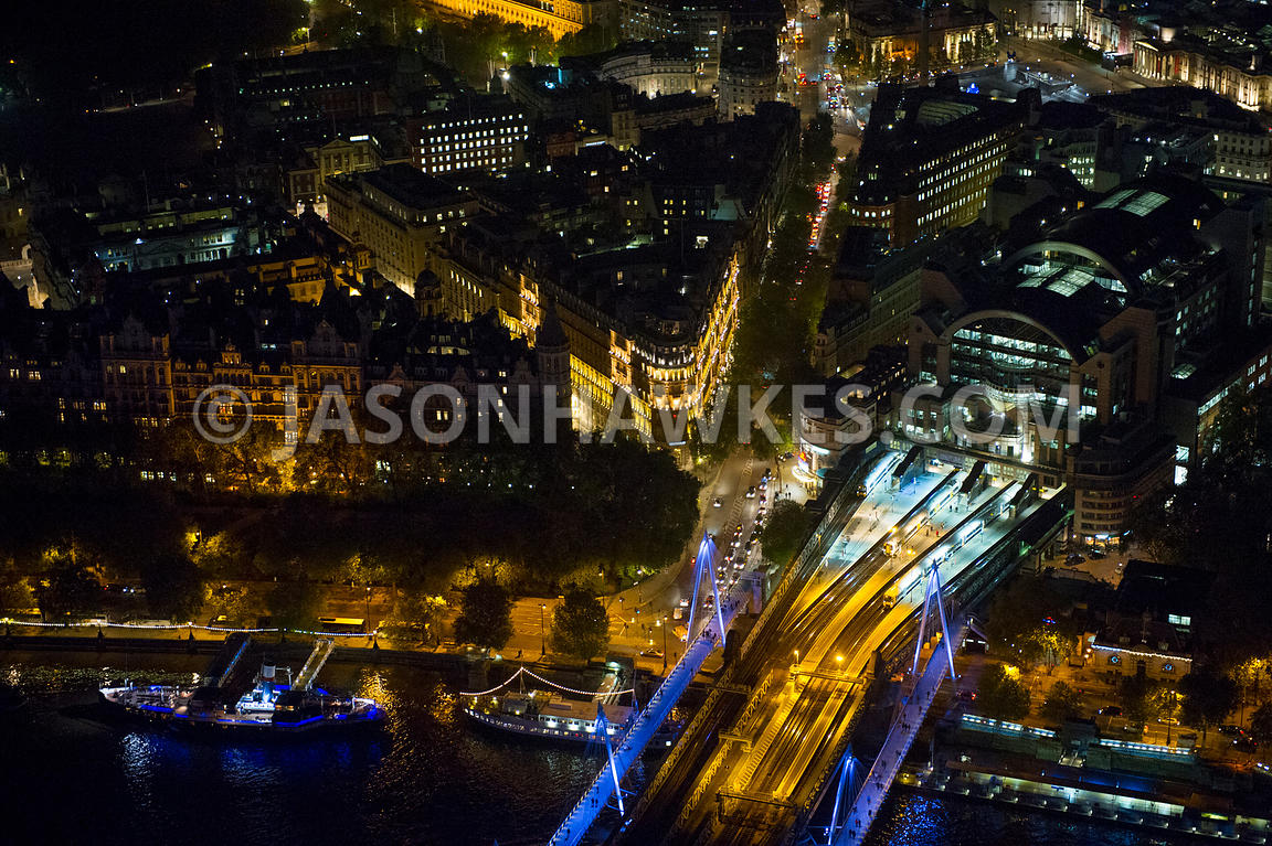 Aerial view of Charing Cross Station at night, London