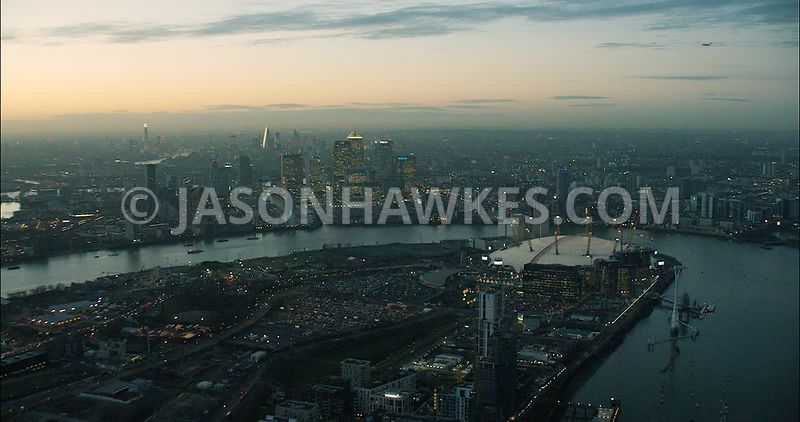 London Aerial Footage of O2 Arena at night.