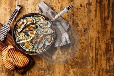 Mussels Clams Kiwi in Blue cheese sauce in cooking pan and toasted bread on wooden background copy space