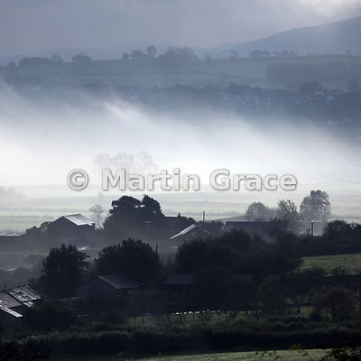 Early morning mist on a cold October morning, Lyth Valley, Cumbria, England