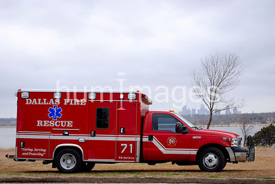 Ambulance in front of White Rock Lake in Dallas, Texas