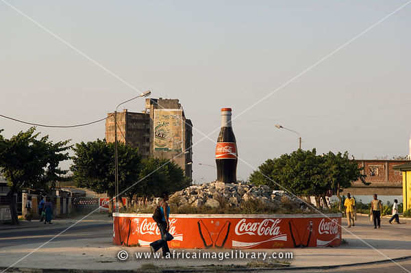 Mozambique, Beira, streetscene, derelict high-rise buildings dot the city.