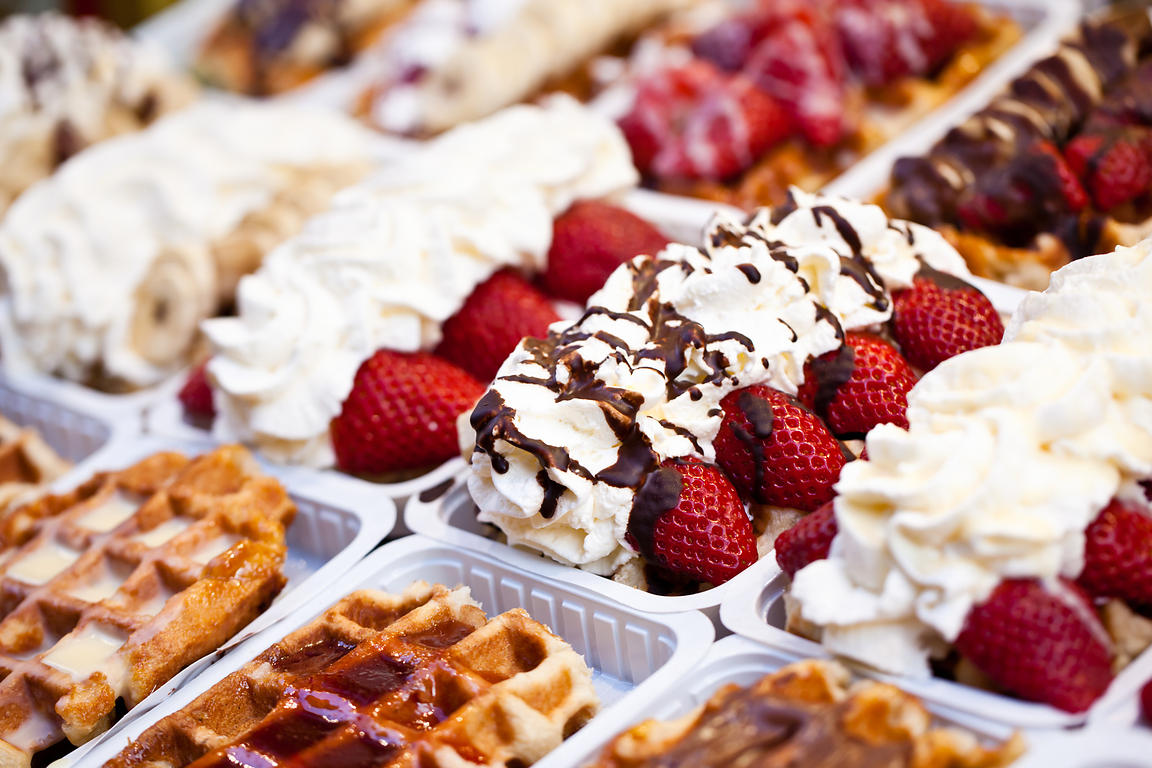 Belgian waffles with toppings