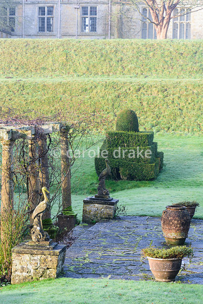 Stone cranes in the Fountain Court with clipped box and yew and decorative urns at Mapperton, Dorset