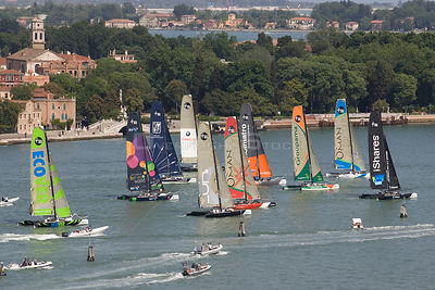 Aerial view of all ten of the Extreme 40 fleet racing towards the windward mark. iShares Cup regatta,  Venice, Italy. May 2009.