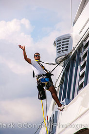 Superyacht crew in safety harness