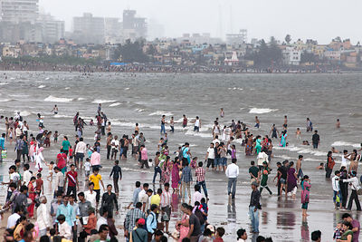 Residents of Mumbai, the largest city in India, flock to Chowpatty Beach on a Sunday afternoon. The beach is permanently filt...