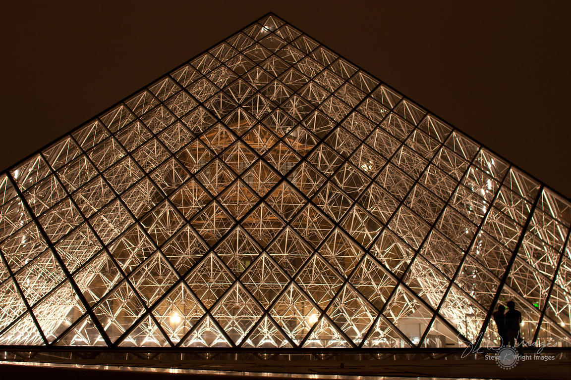 The Louvre Pyramid at Night - Paris, France