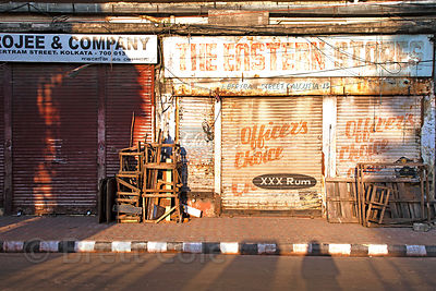 Early morning painterly still life of an old shop, Newmarket, Kolkata, India.