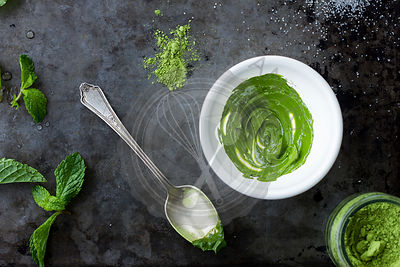 Matcha grren tea powder as a paste