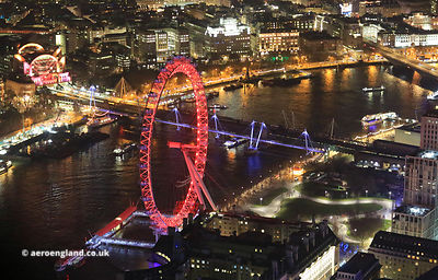 the  London Eye & South Bank night aerial photograph