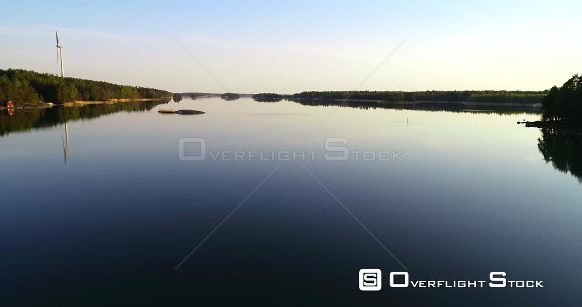 Gulf of Finland, Aerial View Above a Calm Sea, in the Finnish Archipelago,, on a Sunny Summer Evening Dawn, in Inkoo, Uusimaa...