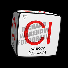 Digital Illustration - Chemical periodic table style tile Cl Chloor (Afrikaans/Nederlands/Vlaams) cubed