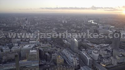 Aerial footage of Southwark and Lambeth, London