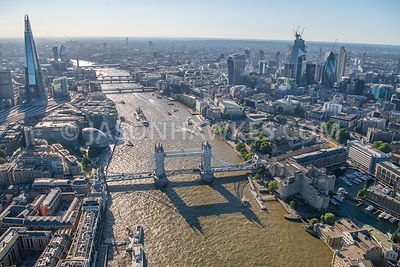 Aerial view of London, Tower Bridge and River Thames.