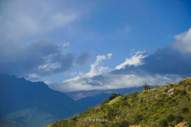 Mountain and clouds in Paro District, Bhutan.