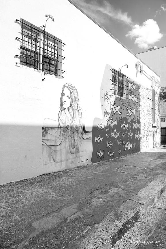 GRAFFITI IN THE ALLEY MIAMI BEACH FLORIDA BLACK AND WHITE