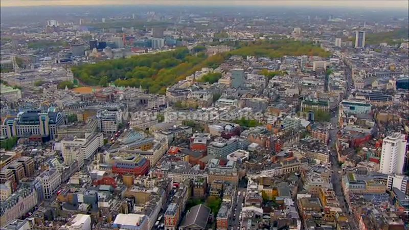 Aerial footage of Trafalgar Square, London