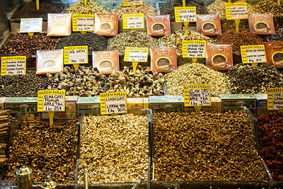 Fruit and herbal teas for sale in the spice market, Istanbul