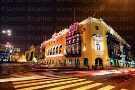 Municipal Palace / City Hall building at night, Lima, Peru
