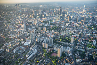 Aerial view of City Road and Old St, London.