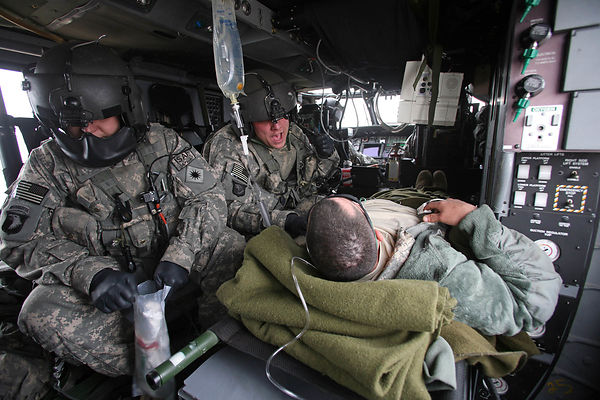 2009. Medical evacuation aboard a Black Hawk helicopter from the 101 th Airborne Division. A US soldier is evacuated from the...