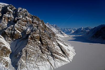 Aerial view of the Voilin Glacier Greenland