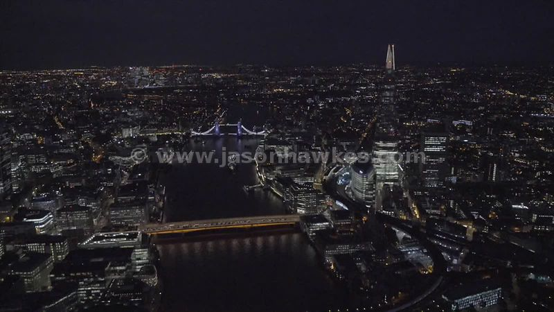 Aerial footage of The Shard lit up at night