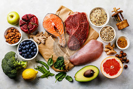 Balanced diet Organic Healthy food Clean eating selection Including Certain Protein Prevents Cancer: fish, meat, fruit, veget...