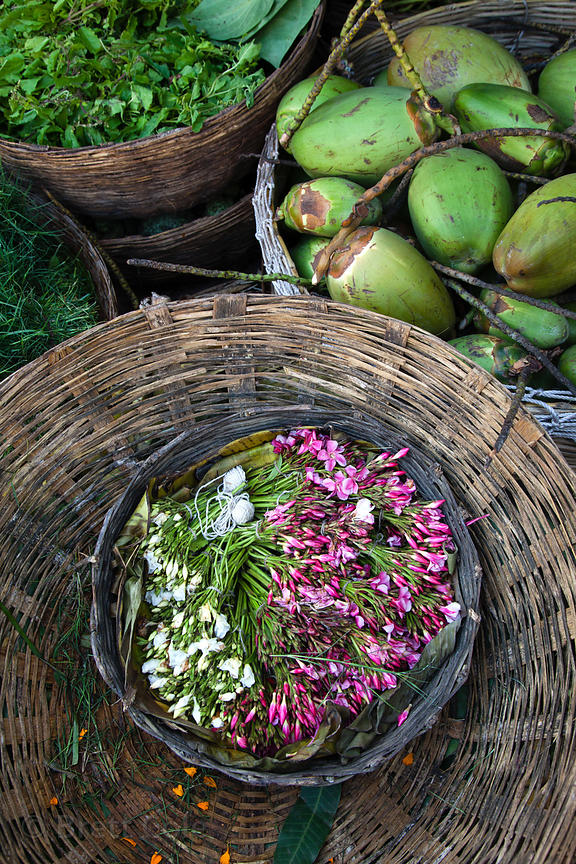 Beautiful organic flowers and vegetables at the Howrah Flower Market, commonly referred to as the largest flower market in As...