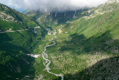 The Gletsch mountain pass and the first kilometre stretch of the Rhone river, Switzerland
