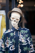 UK - London - A skeleton mannequin with a hat in the Old Truman Brewery off Brick Lane.
