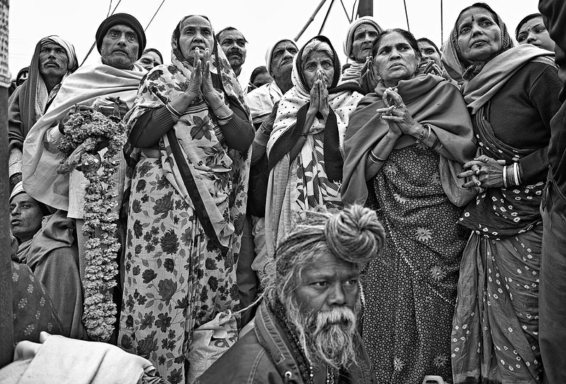 Pilgrims wait for their turn to offer prayers at the Kumbh Mela, Allahabad