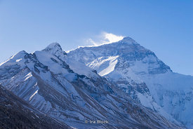 Mount Everest, Earth's highest mountain seen from the basecamp in Tibet.
